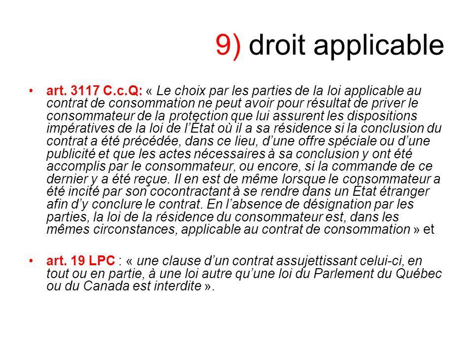 9) droit applicable