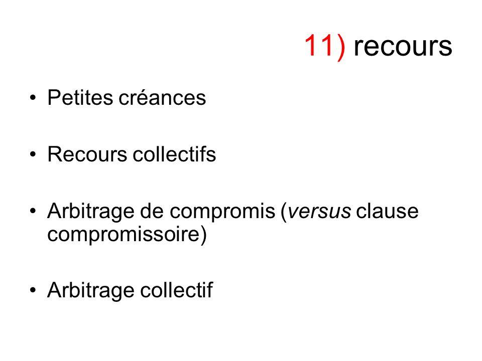 11) recours Petites créances Recours collectifs