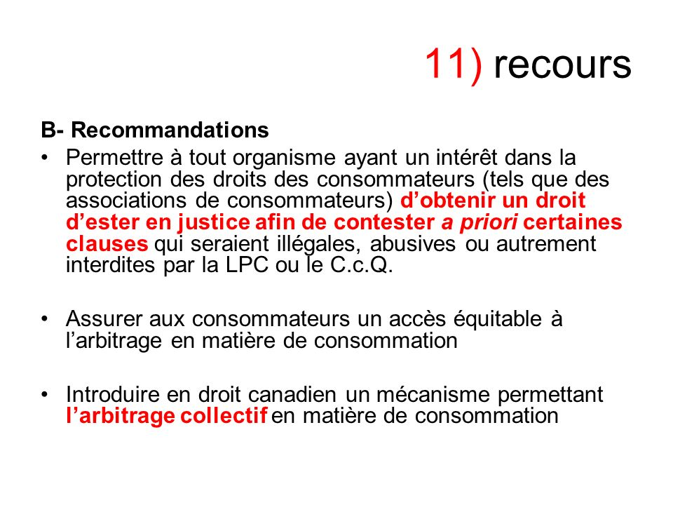 11) recours B- Recommandations