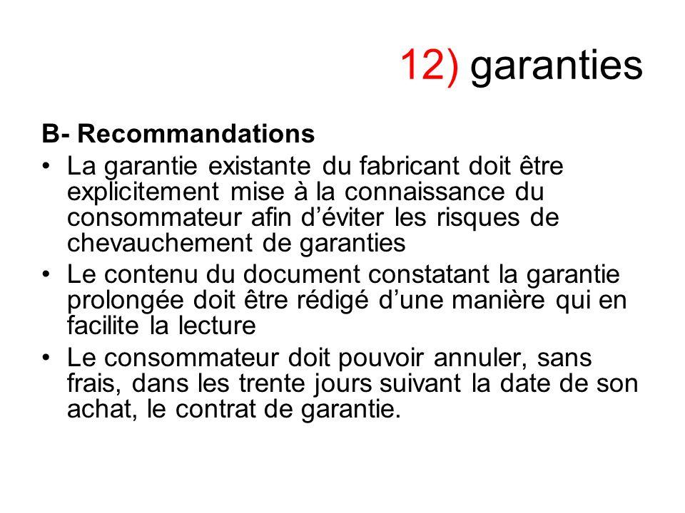 12) garanties B- Recommandations