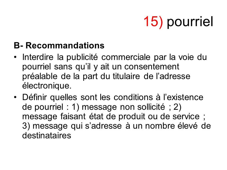 15) pourriel B- Recommandations