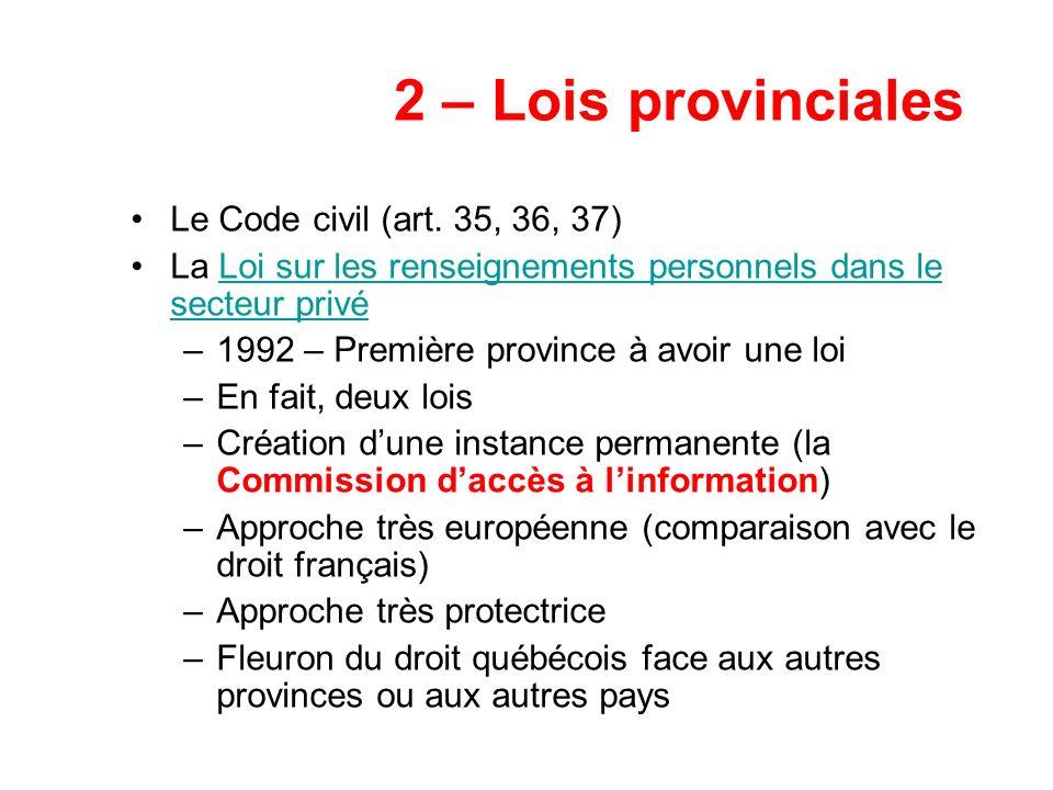 2 – Lois provinciales Le Code civil (art. 35, 36, 37)