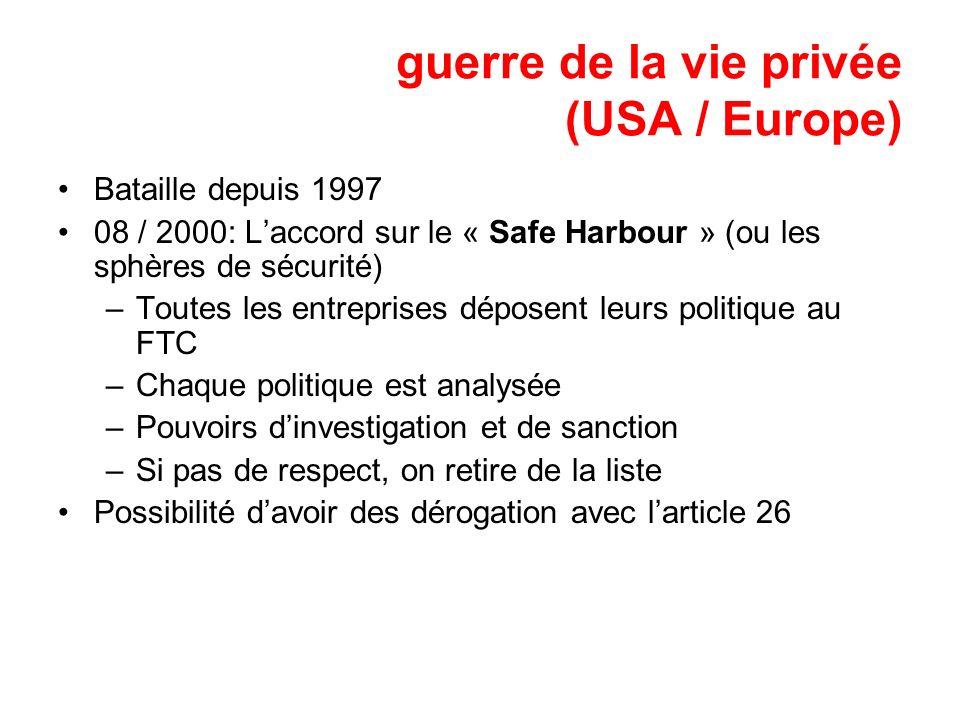 guerre de la vie privée (USA / Europe)