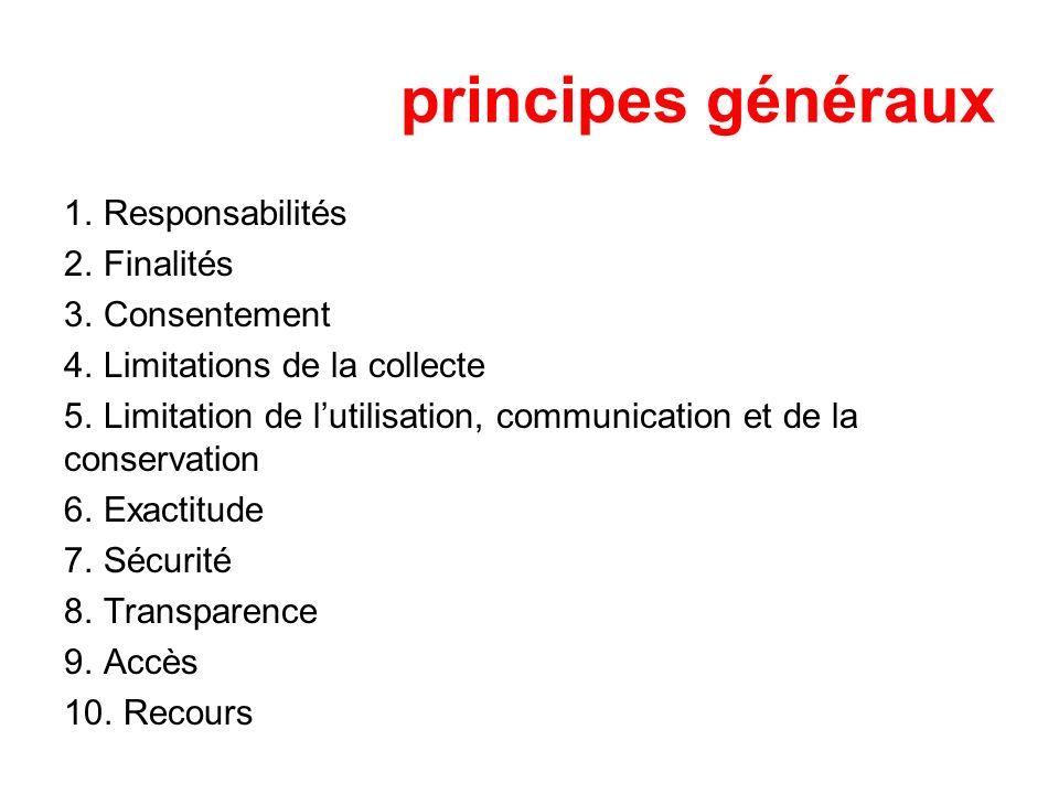 principes généraux Responsabilités Finalités Consentement