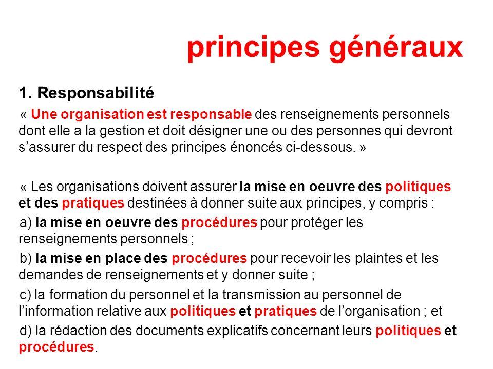principes généraux Responsabilité