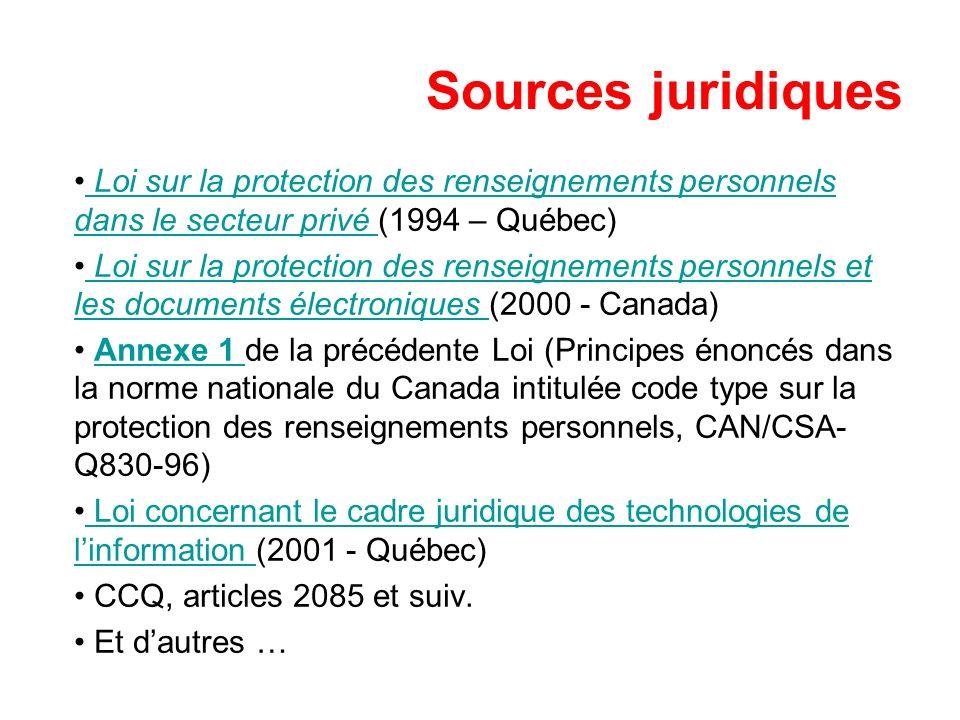 Sources juridiques Loi sur la protection des renseignements personnels dans le secteur privé (1994 – Québec)