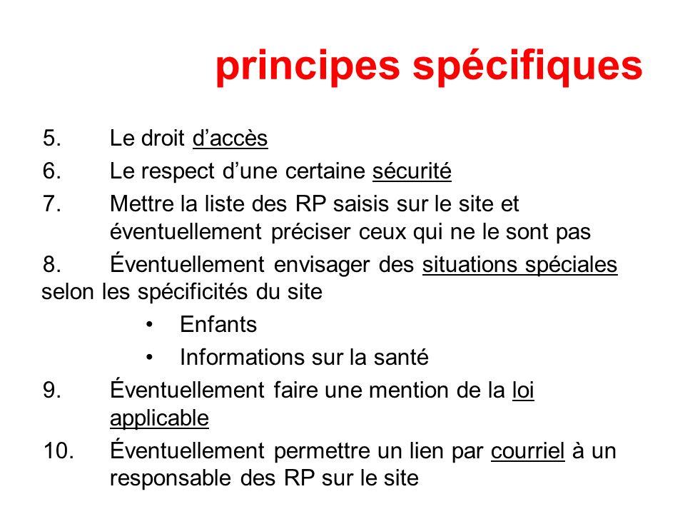 principes spécifiques