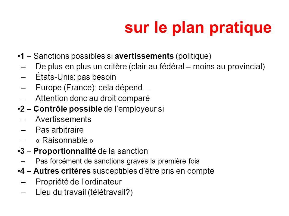 sur le plan pratique 1 – Sanctions possibles si avertissements (politique) De plus en plus un critère (clair au fédéral – moins au provincial)