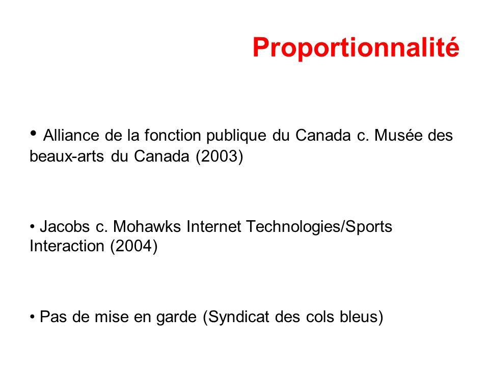 Proportionnalité Alliance de la fonction publique du Canada c. Musée des beaux-arts du Canada (2003)