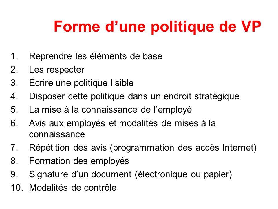 Forme d'une politique de VP