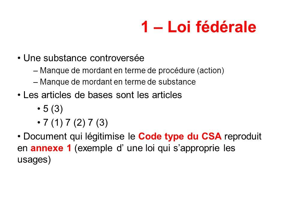 1 – Loi fédérale Une substance controversée