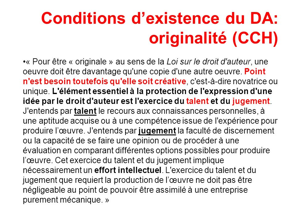 Conditions d'existence du DA: originalité (CCH)