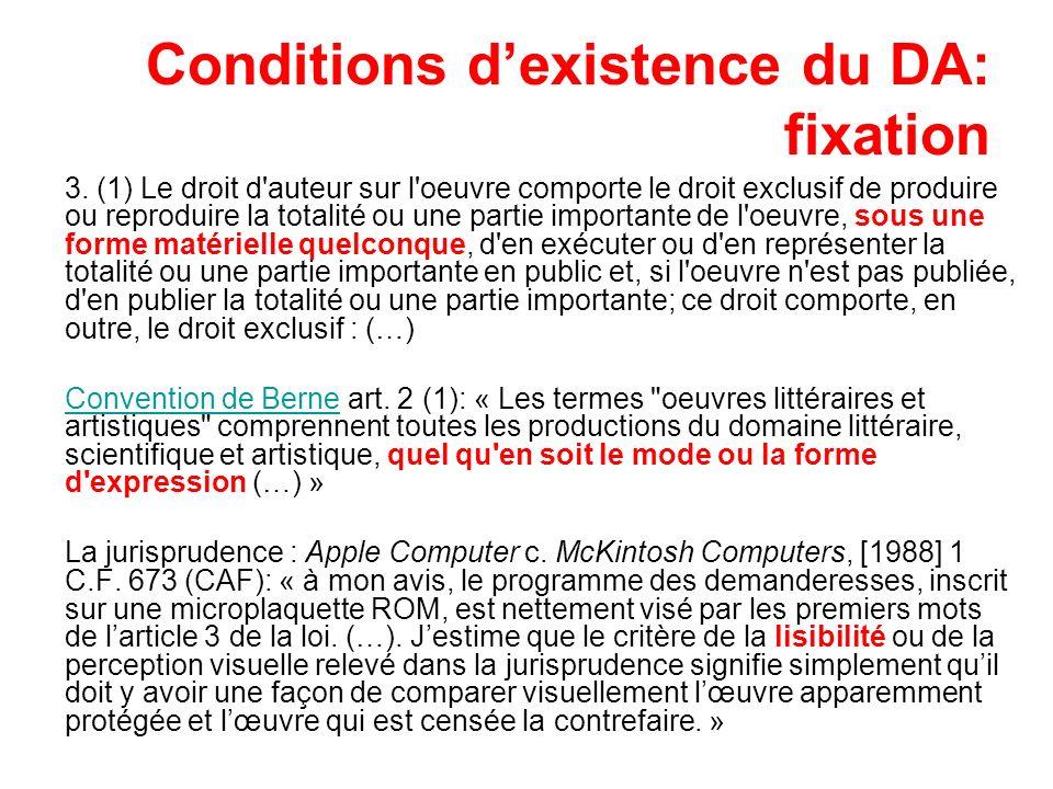 Conditions d'existence du DA: fixation