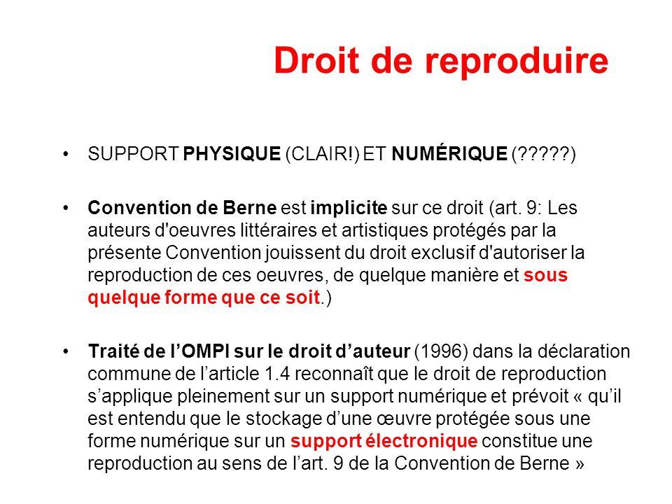 Droit de reproduire SUPPORT PHYSIQUE (CLAIR!) ET NUMÉRIQUE ( )