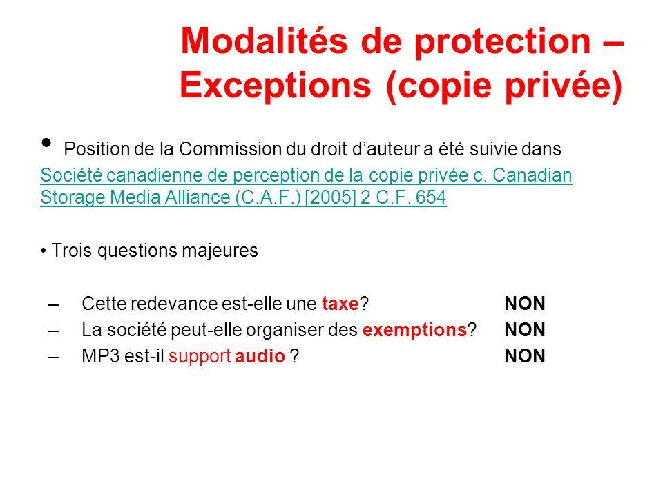 Modalités de protection – Exceptions (copie privée)