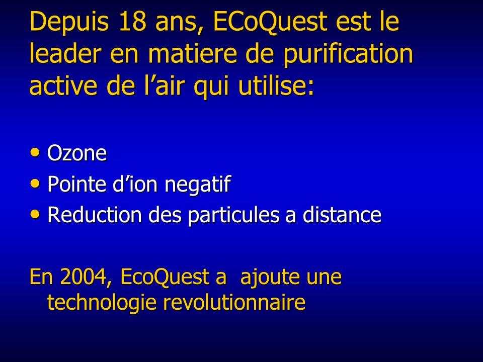 Depuis 18 ans, ECoQuest est le leader en matiere de purification active de l'air qui utilise: