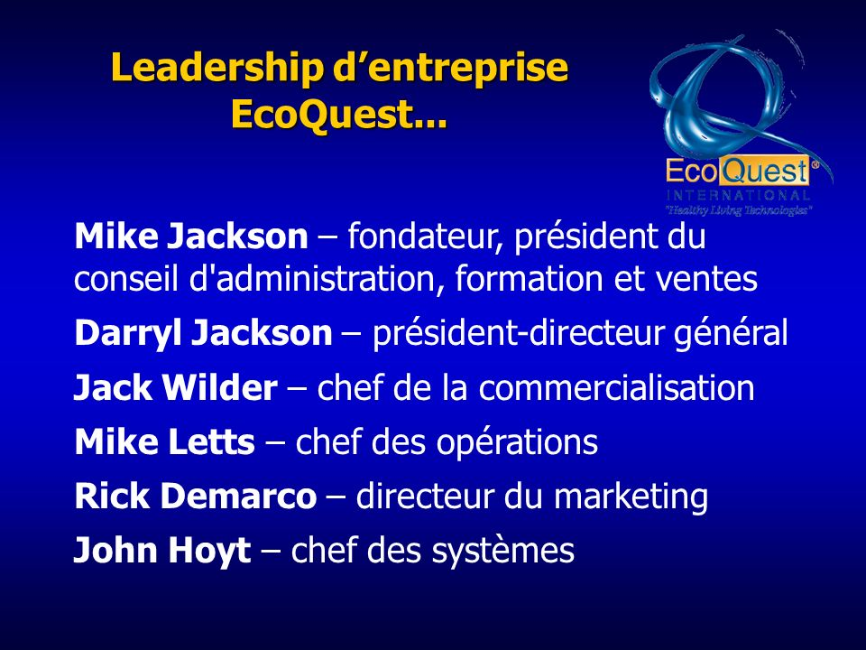 Leadership d'entreprise EcoQuest...