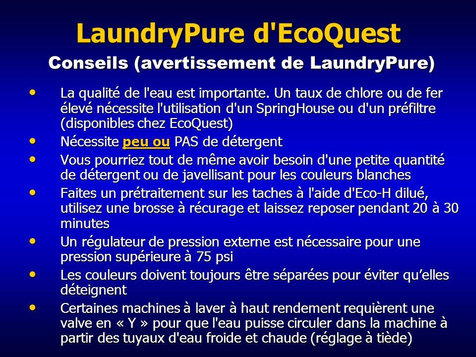 LaundryPure d EcoQuest Conseils (avertissement de LaundryPure)