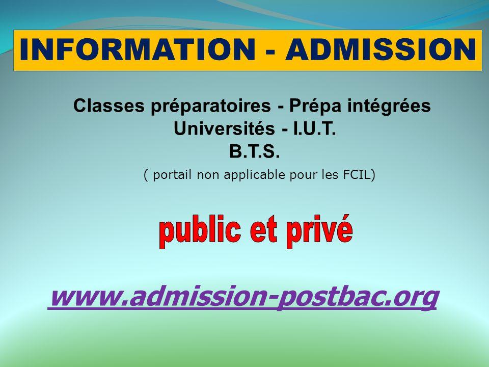 INFORMATION - ADMISSION Classes préparatoires - Prépa intégrées