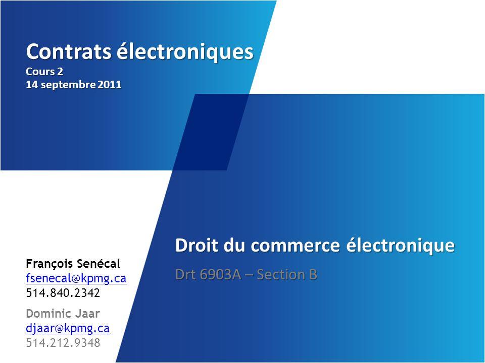 Contrats électroniques Cours 2 14 septembre 2011
