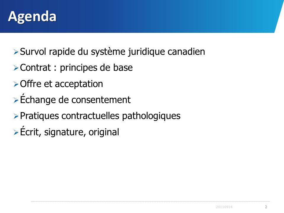 Agenda Survol rapide du système juridique canadien