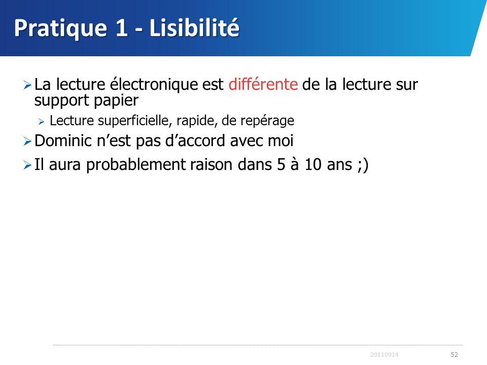 Pratique 1 - Lisibilité La lecture électronique est différente de la lecture sur support papier. Lecture superficielle, rapide, de repérage.