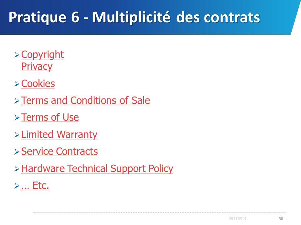 Pratique 6 - Multiplicité des contrats