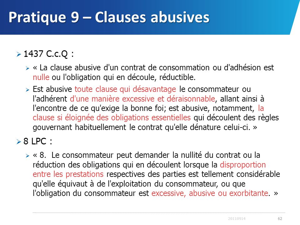 Pratique 9 – Clauses abusives