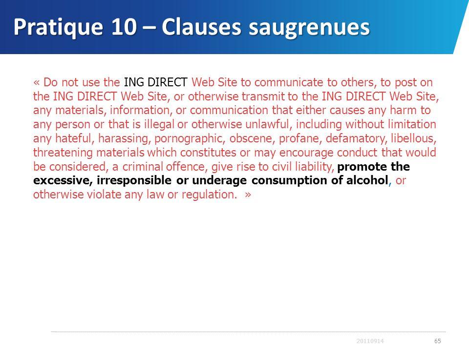 Pratique 10 – Clauses saugrenues