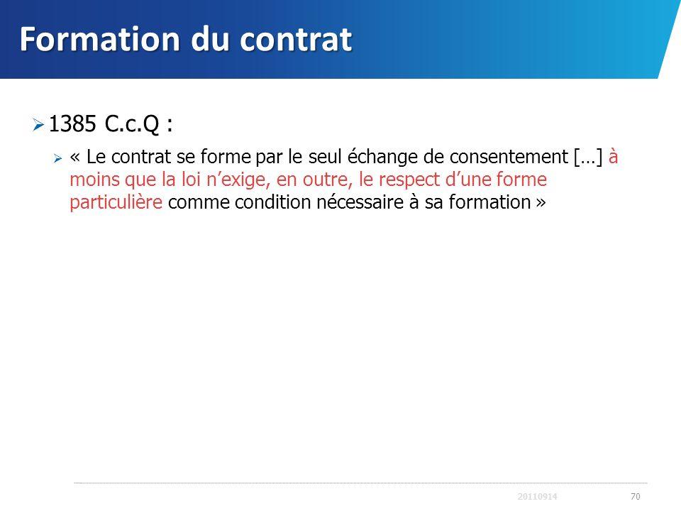 Formation du contrat 1385 C.c.Q :