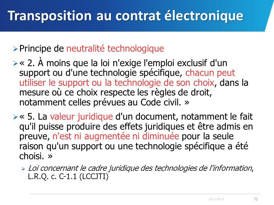 Transposition au contrat électronique