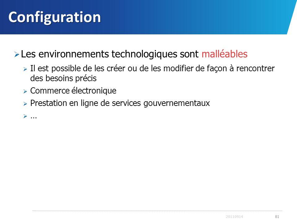Configuration Les environnements technologiques sont malléables