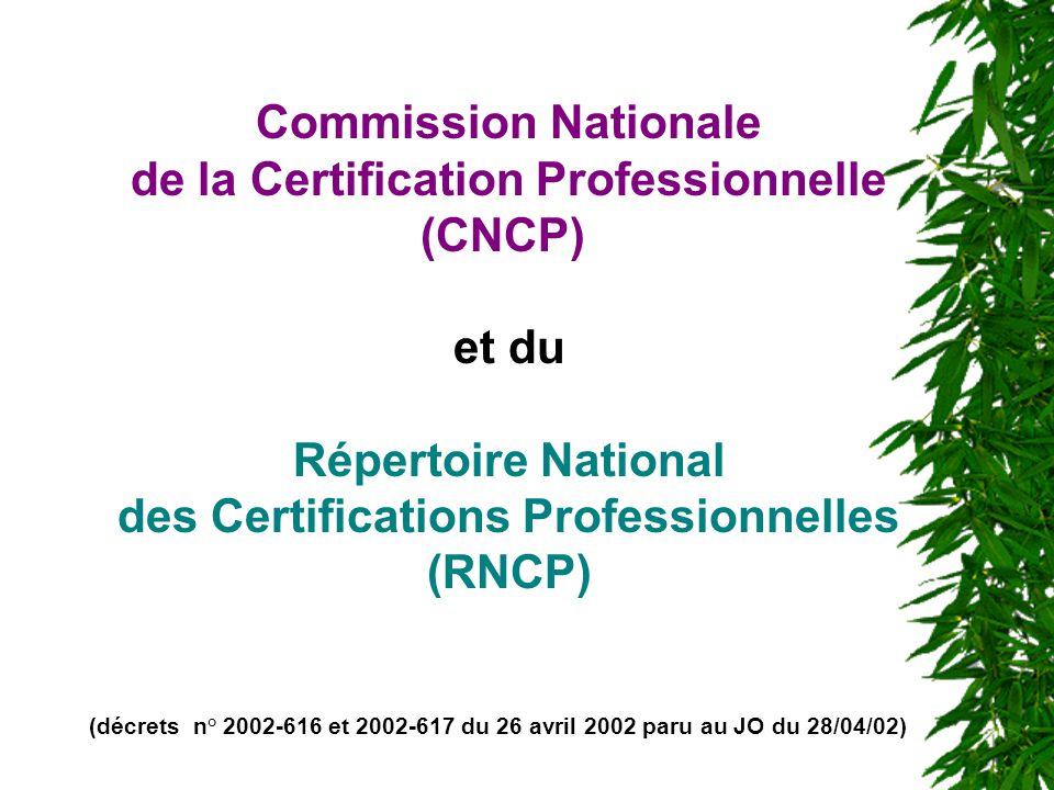 de la Certification Professionnelle (CNCP) et du Répertoire National