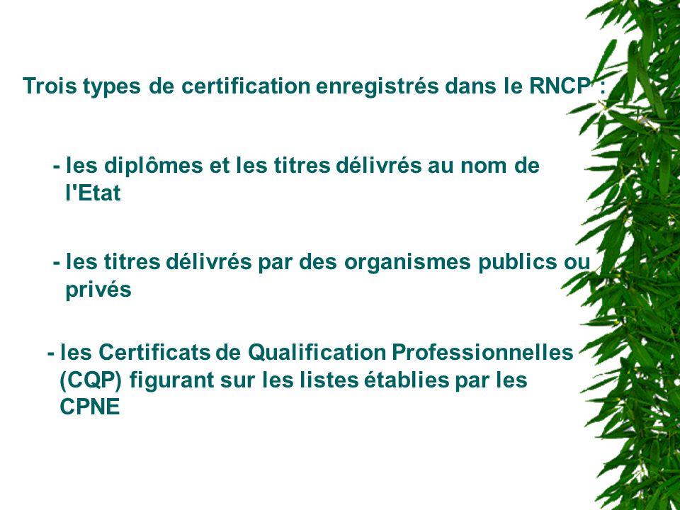 Trois types de certification enregistrés dans le RNCP :