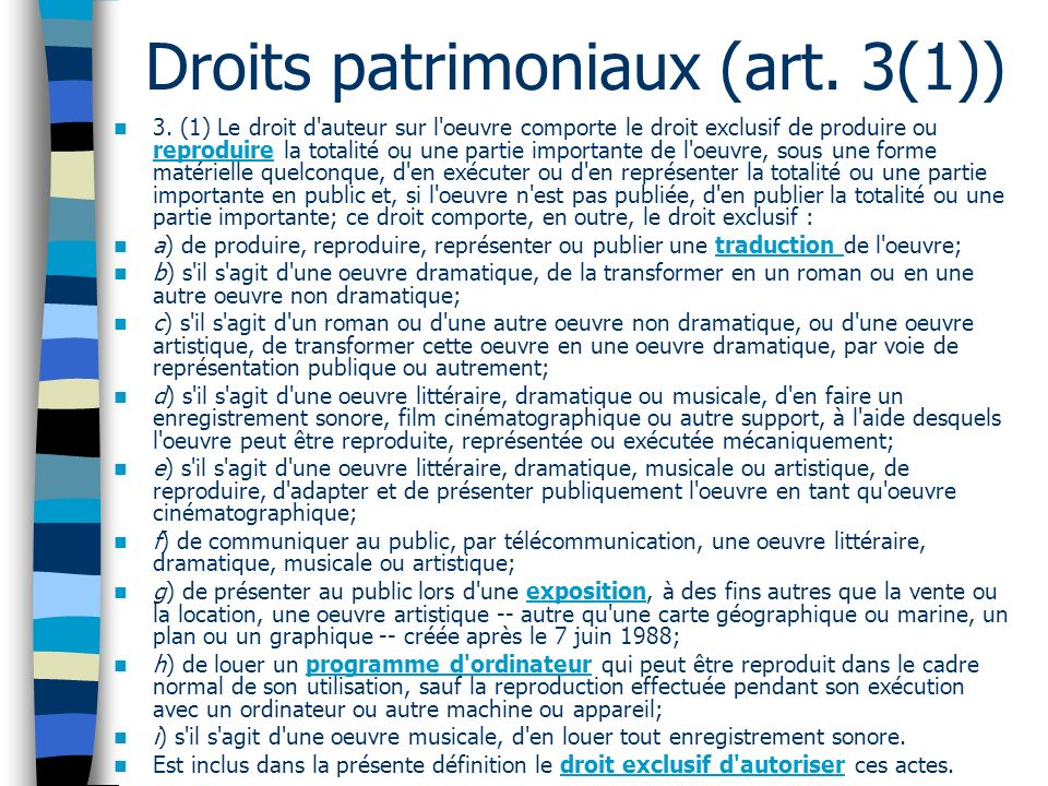 Droits patrimoniaux (art. 3(1))