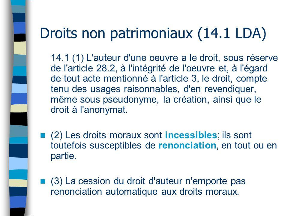 Droits non patrimoniaux (14.1 LDA)