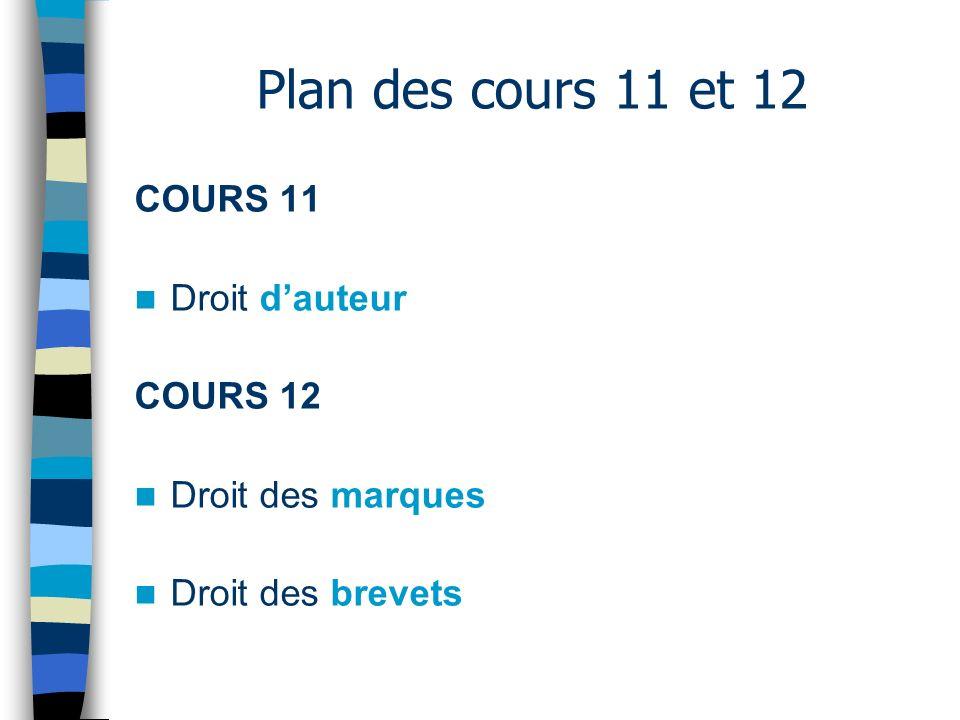 Plan des cours 11 et 12 COURS 11 Droit d'auteur COURS 12