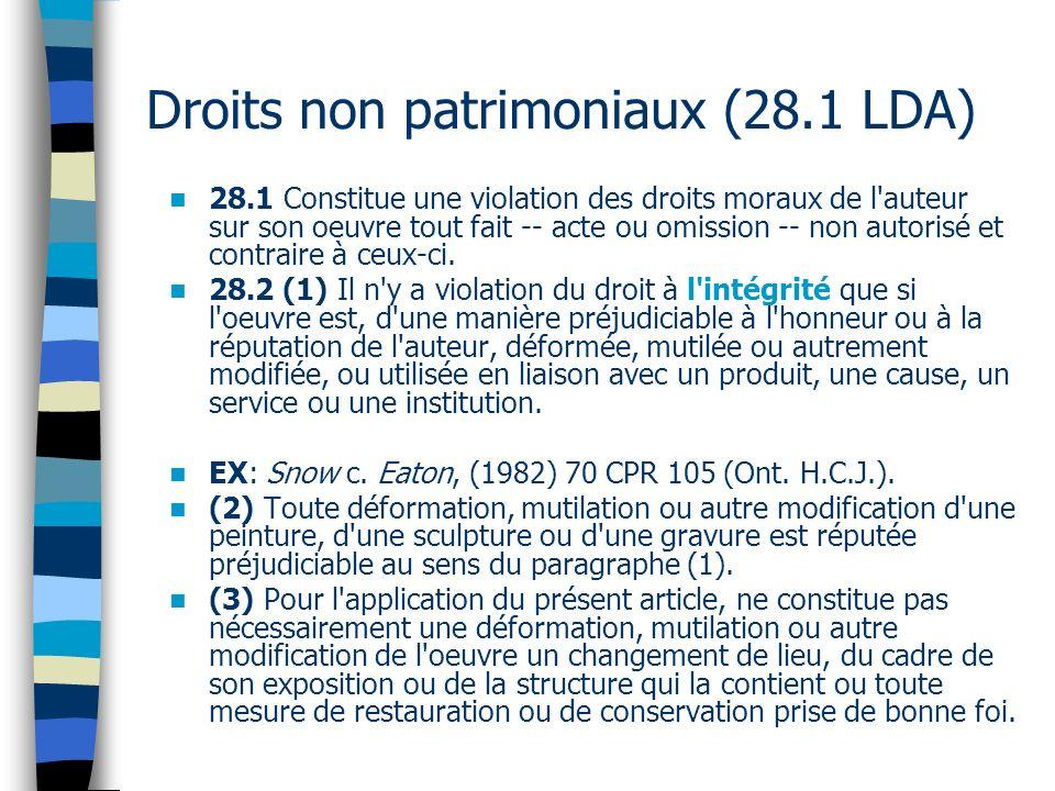Droits non patrimoniaux (28.1 LDA)