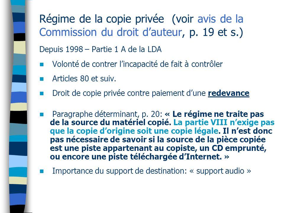Régime de la copie privée (voir avis de la Commission du droit d'auteur, p. 19 et s.)