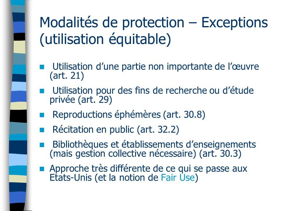 Modalités de protection – Exceptions (utilisation équitable)