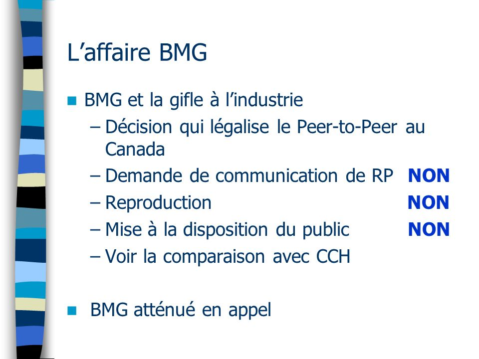 L'affaire BMG BMG et la gifle à l'industrie