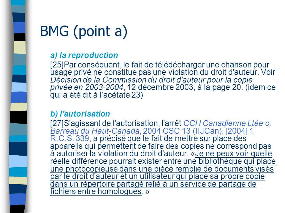 BMG (point a) a) la reproduction