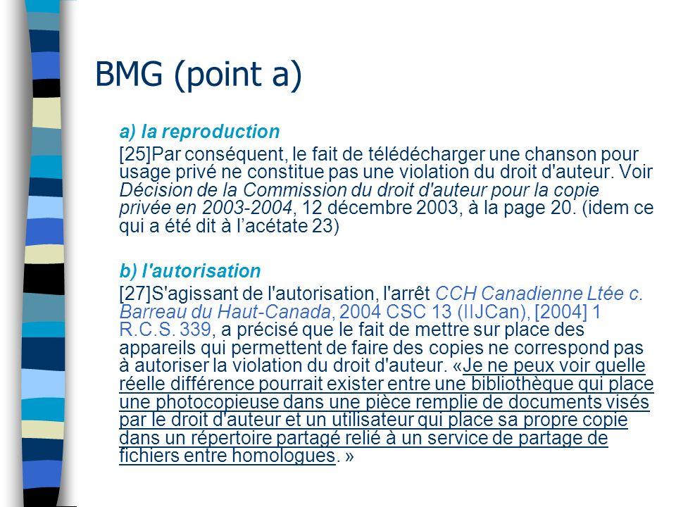 BMG (point a) a) la reproduction