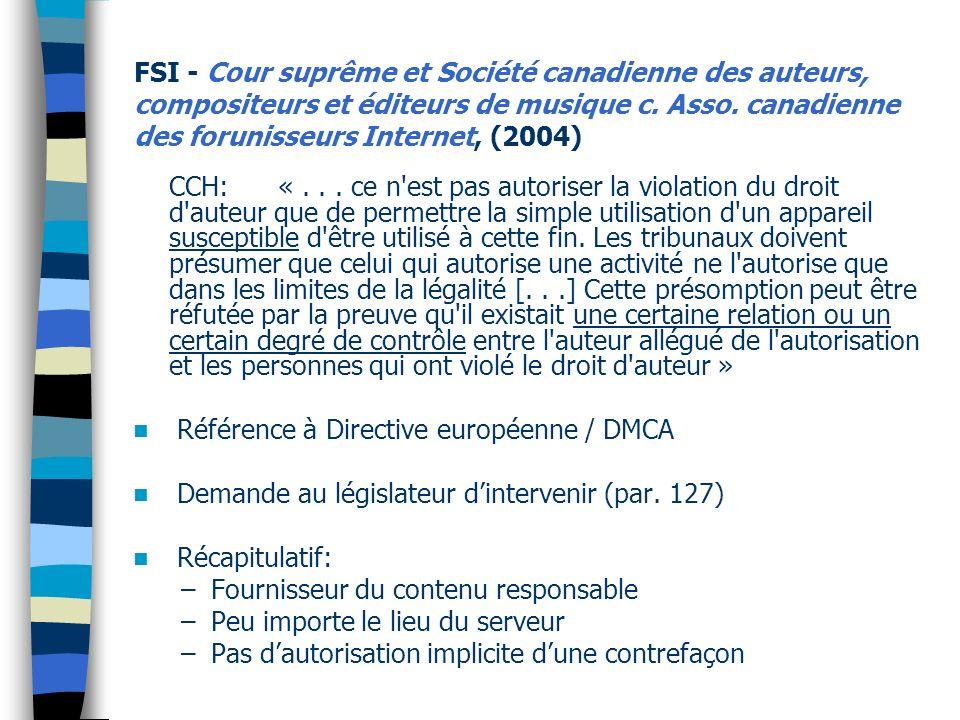 Référence à Directive européenne / DMCA
