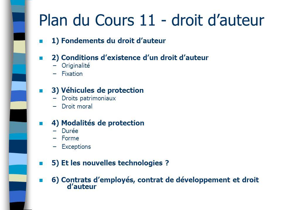 Plan du Cours 11 - droit d'auteur