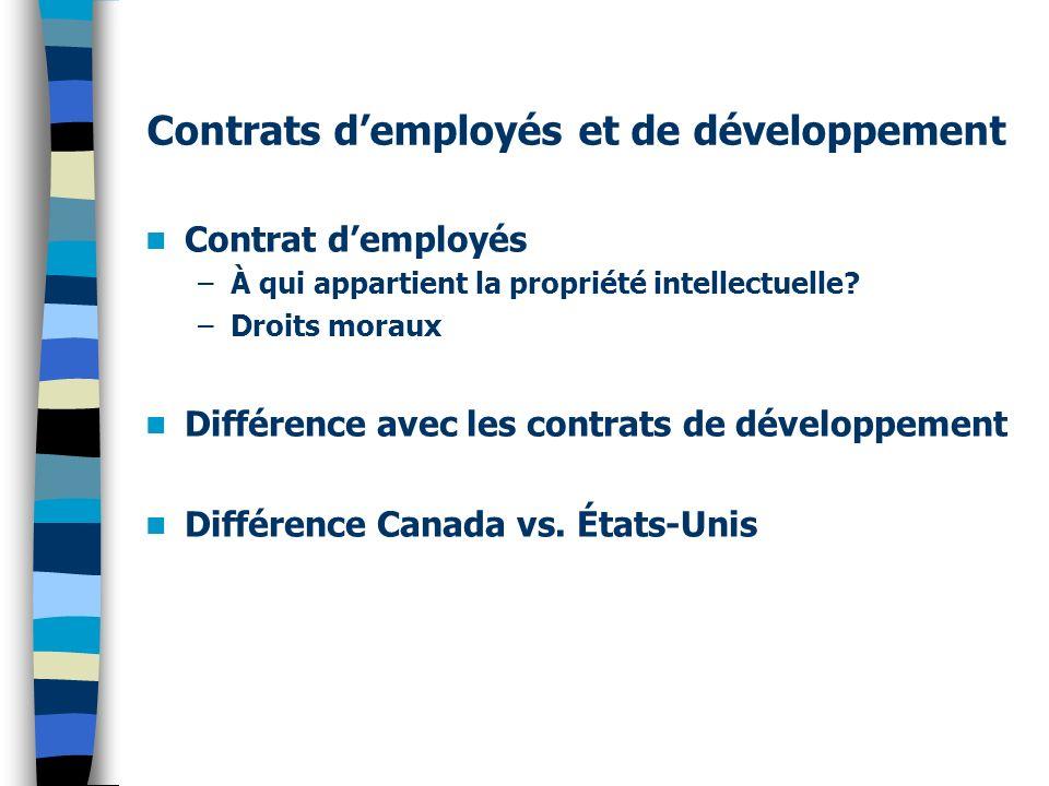 Contrats d'employés et de développement