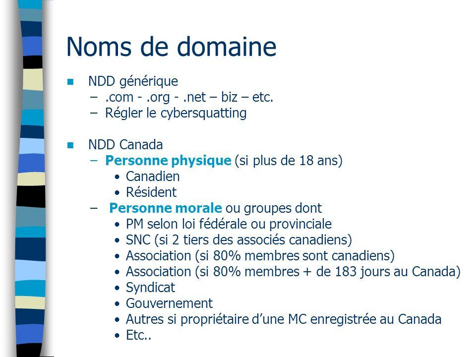 Noms de domaine NDD générique .com - .org - .net – biz – etc.
