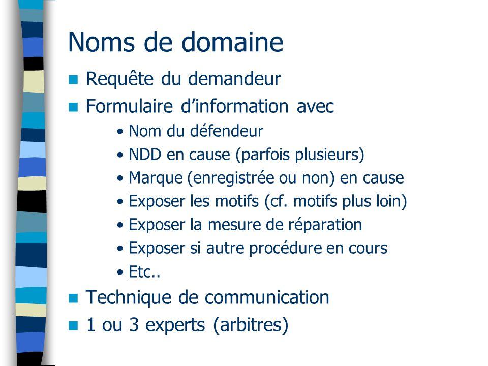 Noms de domaine Requête du demandeur Formulaire d'information avec