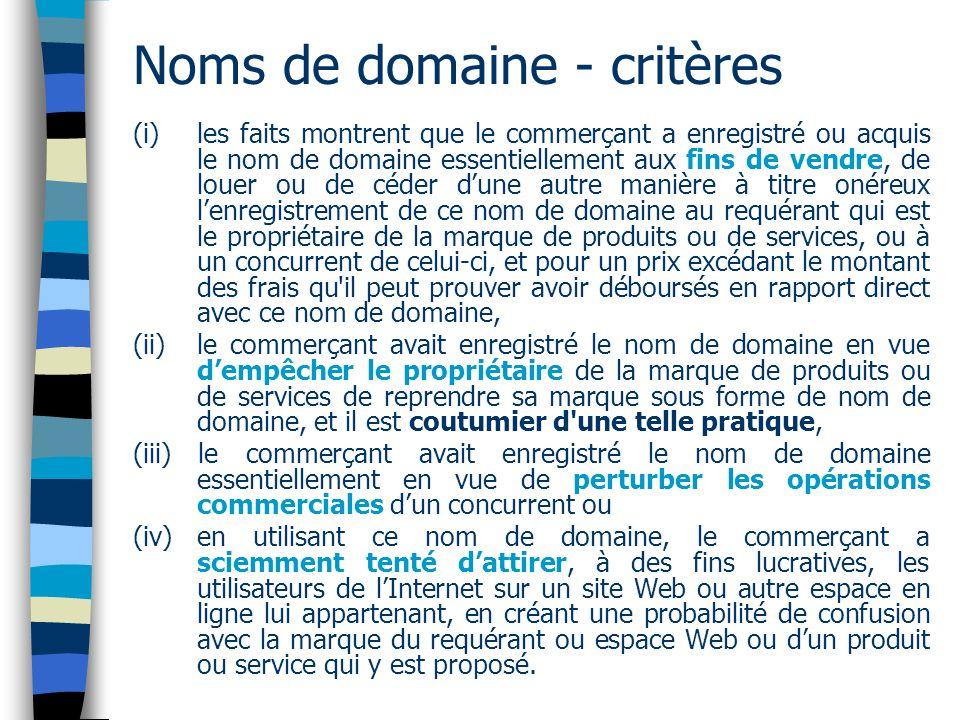 Noms de domaine - critères