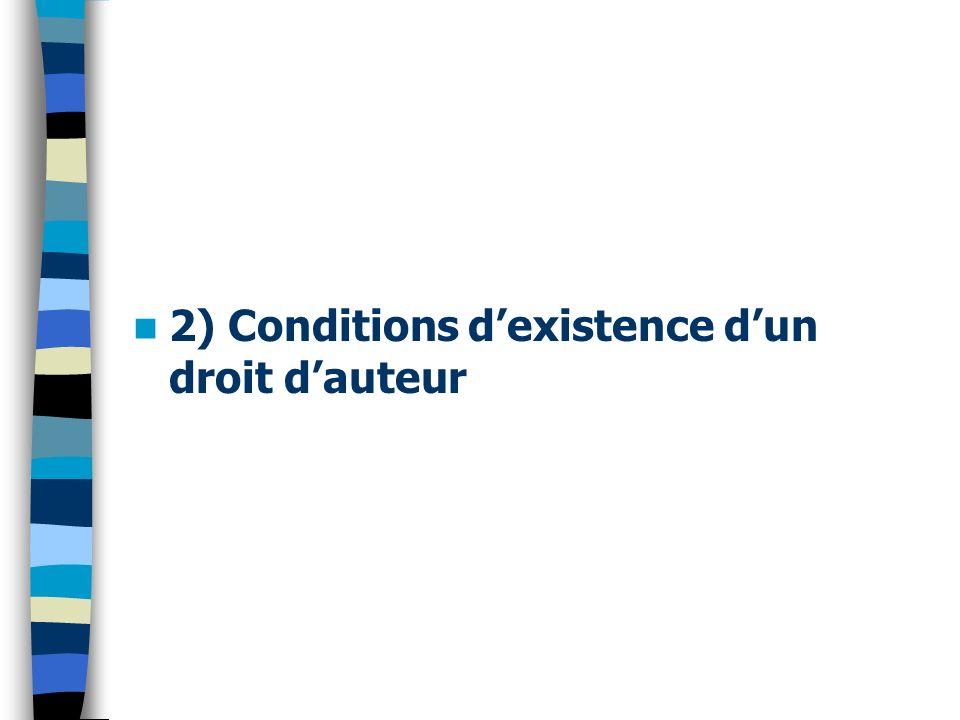 2) Conditions d'existence d'un droit d'auteur